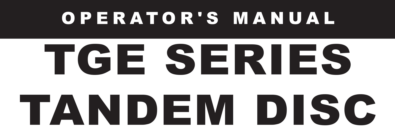 TGE Series Owners Manual