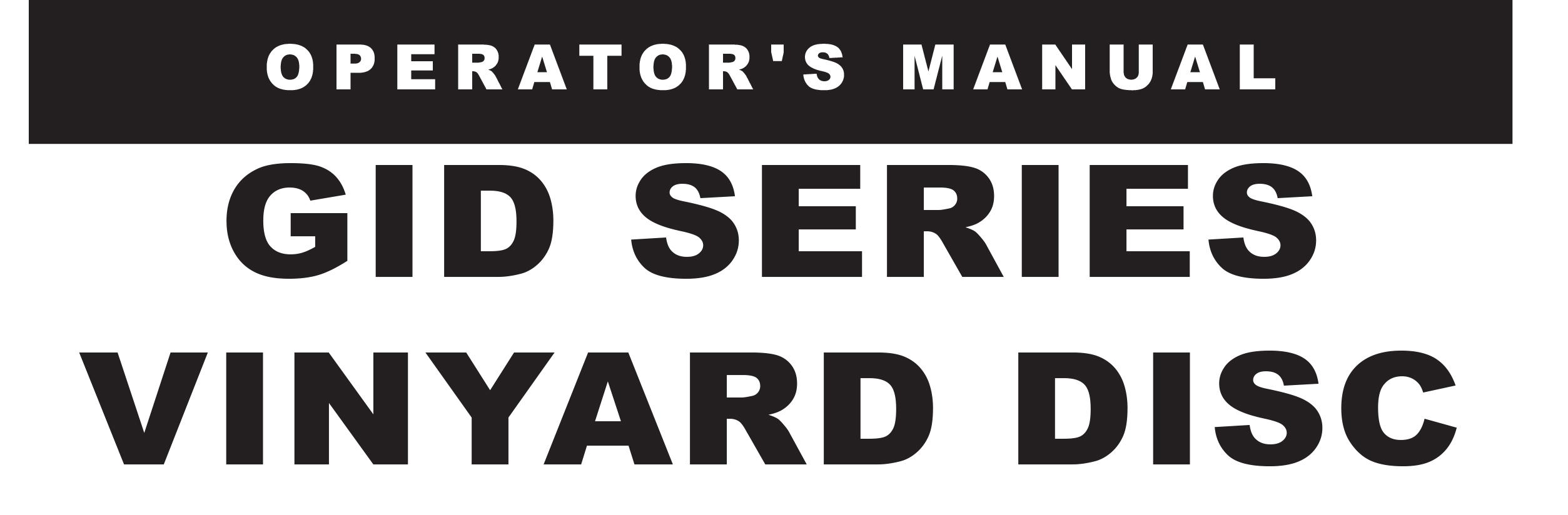 GID Series Owners Manual