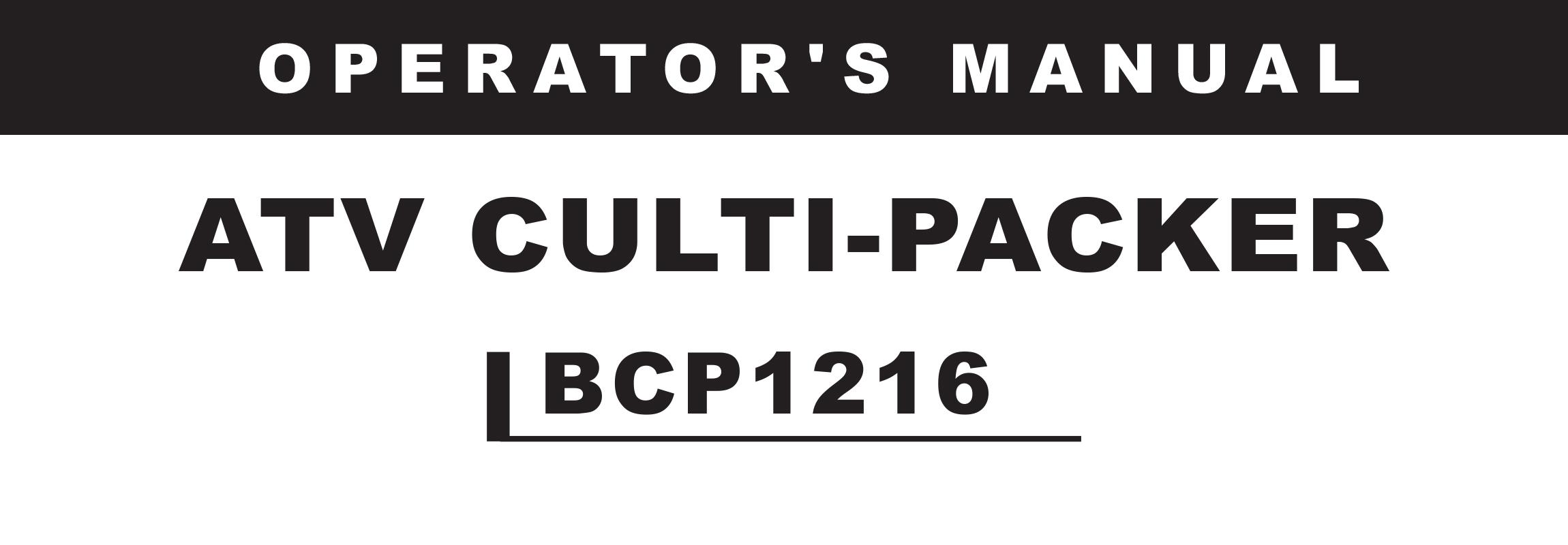 ATVB CULTI-PACKER Series Owners Manual